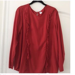 Old Navy Tops - Old Navy Red Ruffle Front Shirt